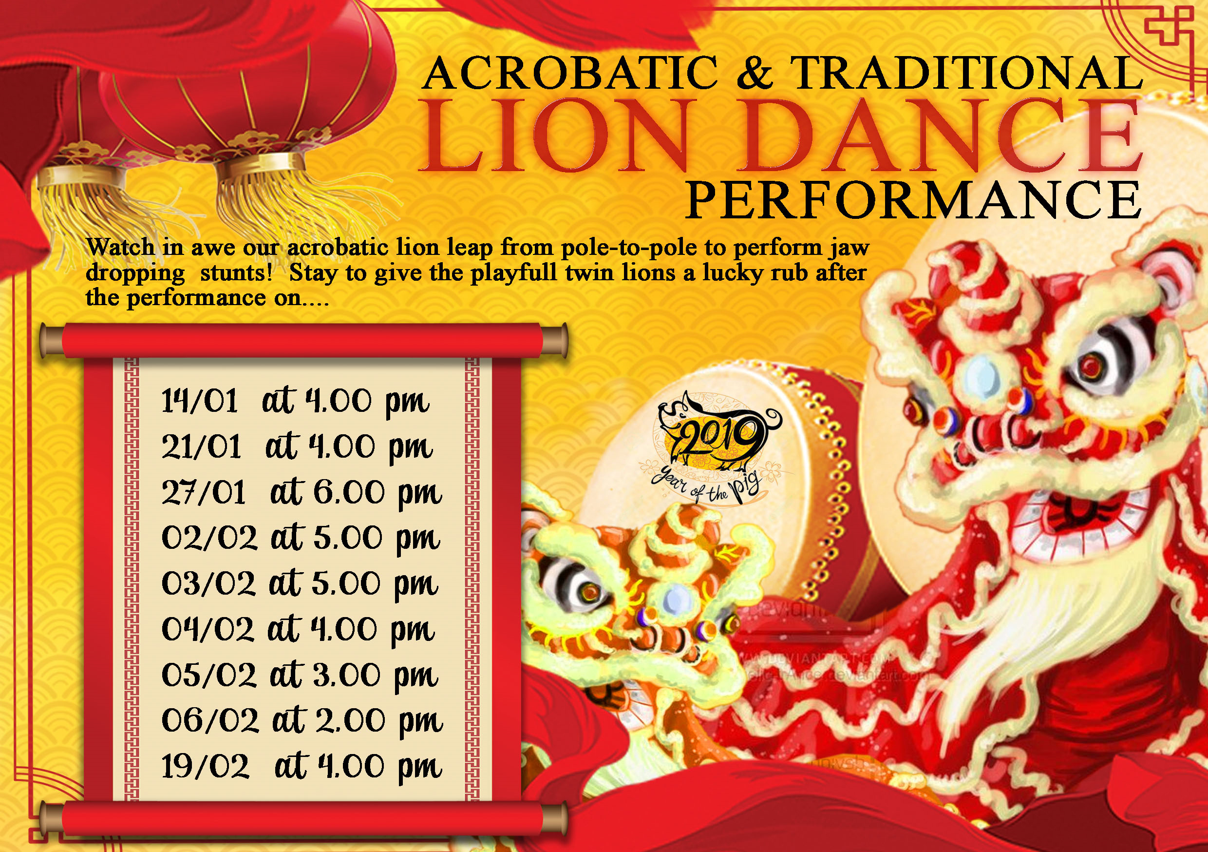 Acrobatic & Traditional Lion Dance Performance for 2019