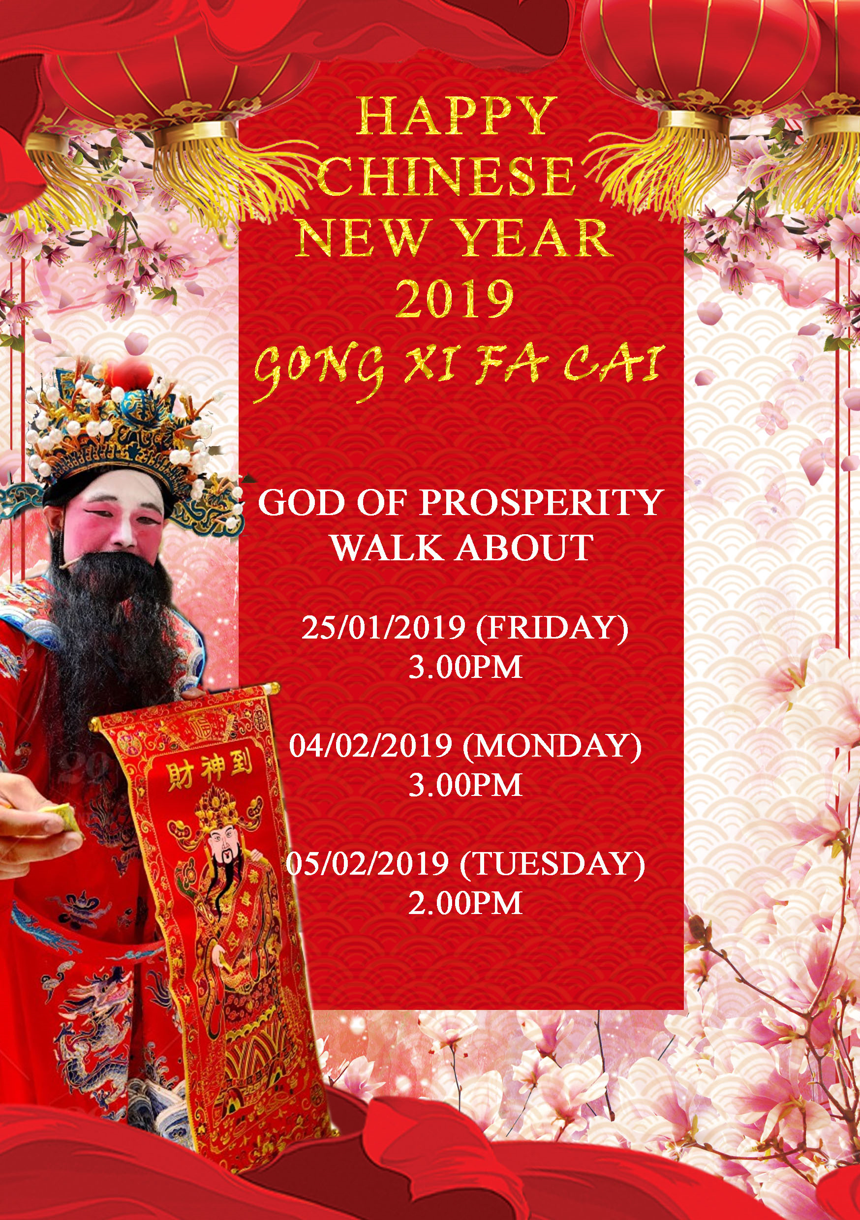 God Of Prosperity Walkabout For Chinese New Year 2019